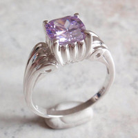 Lavender CZ Ring Cushion Cut Sterling Silver Size 10-1/4 Vintage AT0049