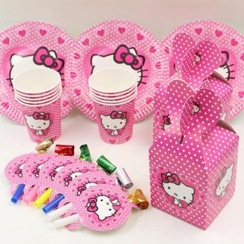 44pcs hello kitty kids favors and gift birthday party decoration plate&cups&candy box for 10people party supplies souvenir