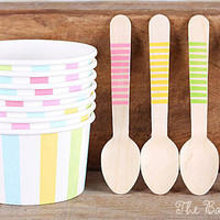 Pastel Rainbow Stripe Ice Cream Cups & Wooden Spoon Set, Pastel Ice Cream Party, Ice Cream Cups, Easter Ice Cream Cups (12 Cups and Spoons)
