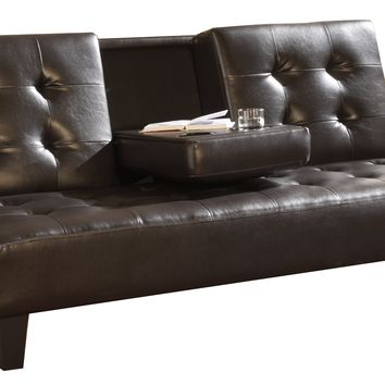 Brown Leather Upholstered Tufted Futon Sofa Bed