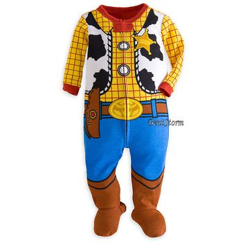 Licensed cool Disney Store Toy Story Woody Costume Footed Sleeper Pajamas Boys 3-24 Months NEW