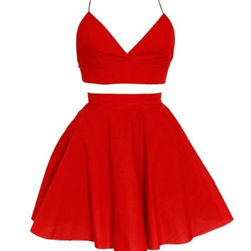 Red Triangle Crop Top & Skirt Set | Style Icon`s Closet