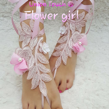 Free Ship, Flower Girl, Pink Lace Barefoot Sandals, Beach Wedding Sandals, Wedding Anklets, Summer Wear, Wrist Sandals, Flower Girl Pink