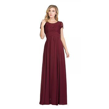 Burgundy Illusion Lace Top Short Sleeve Long Formal Dress