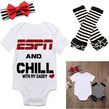 "Girl's ""ESPN and Chill with My Daddy"" One Piece Outfit with Leg Warmers and Bow"