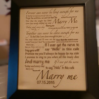 """Leather 3rd Anniversary Gift Laser Engraved """"Marry Me"""" Quote Personalized With Frame Art"""