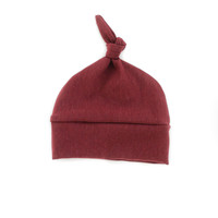 Baby Knotted Hat in Maroon