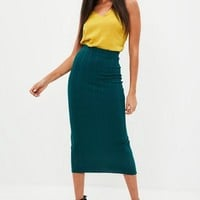 Missguided - Green Bandage Maxi Skirt