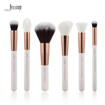 Jessup Pearl White/Rose Gold Professional Makeup Brushes Set Beauty Tools Make up Brush kit Buffer Paint Cheek Highlight Powder