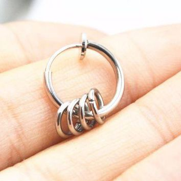 ac DCCKO2Q 10pcs Clip On Fake Nose Septum Hoop Rings Earrings Ear Stud Helix Rings No Hole Non Piercing Body Jewelry Free shipment
