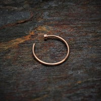 14k Rose Gold Ring 20g Nose Hoop Ring Solid Gold Septum Ring Gold Nose Ring Cartilage Earring Helix Piercing Tragus Jewelry Earring Lip Ring
