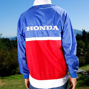 80s Vintage Racing Jacket HONDA PRO Red White Blue Windbreaker Jacket Medium - Large Racing Stripe Zip Front Nylon Jacket California USA