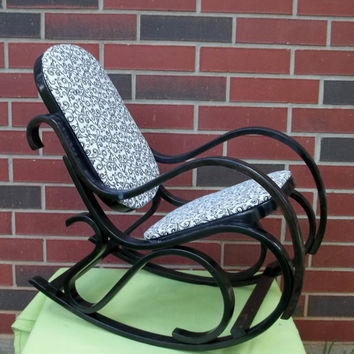 Childs Rocking Chair For Her Vintage Wooden Bentwood Rocker Upcycled Hand  Painted Black And White