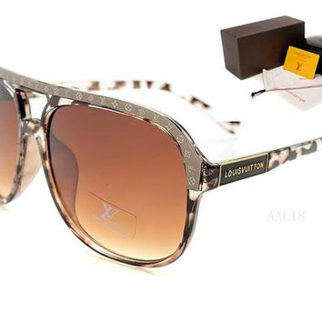 LV Mirrored Flat Lenses Street Fashion Metal Frame Women Sunglasses [2974244714]