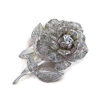 Victorian Revival Layered Wire Filigree Flower Brooch Vintage
