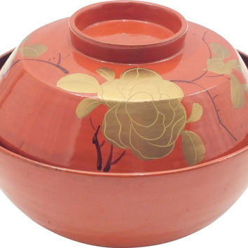 JAPANESE LACQUERED COVERED BOWL