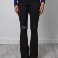 Flying Monkey Distressed Black Flare Jeans