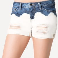bebe Womens 2 Tone Destroyed Shorts Blue Ombre