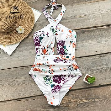 CUPSHE Floral Print Ruched Halter One-Piece Swimsuit Women Cross Cutout Monokini Swimwear 2019 Girl Beach Bathing Suits