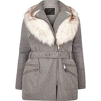 RI Plus light grey belted coat - coats - coats / jackets - women