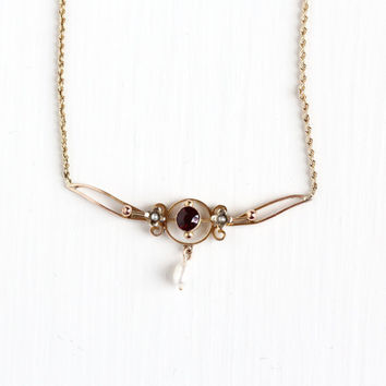 Antique 9k & 14k Rosy Yellow Gold Garnet and Pearl Flower Necklace - Edwardian Early 1900s Lavalier Art Nouveau Pendant Fine 9ct Jewelry