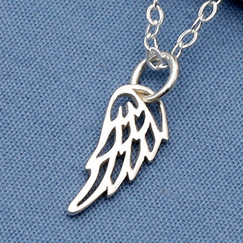 Silver Angel Wing Necklace,Sterling Silver, Bird Wing,Angel,Faith Jewelry,Faith Necklace,Faith,Memorial,Simple,Everyday,Minimal,Modern