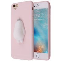 Amazon.com: Cute Lazy Cat 3D iPhone 6S Plus Case, Cute 3D Soft Poke Squishy Silicone TPU Protective Cover for iPhone 6 Plus (Pink Polar Bear): Cell Phones & Accessories