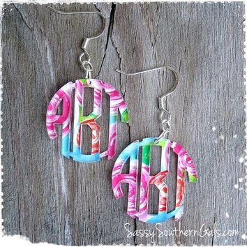 Monogram Acrylic Earrings, Mary Beth Goodwin Patterns, Lilly Pulitzer Inspired