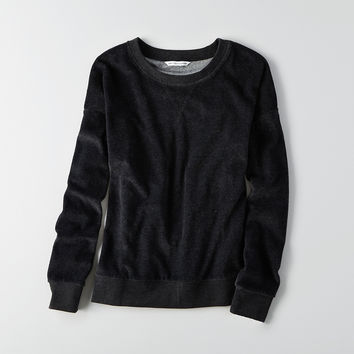 AEO Velour Crew Sweatshirt , Washed Black