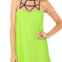 Yellow Green Strappy Mini Dress