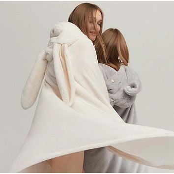 Cute Rabbit/Mouse Hooded Keep warm Blanket Plush Cloak Lovely shawl Comfortable Home