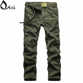 Mens Casual Cargo Pants, Outdoors Workwear Army Camouflage Sweatpans , Cotton Washed Multi Pocktes Military Pants Plus 5XL 6XL