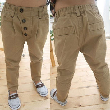 Fashion Kids Baby Boys Khaki Solid Slim Straight Cotton Pants Trousers 2-7Y = 1930002820