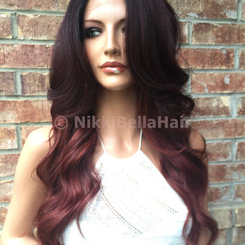 Helen Red Burgandy Ombre' Human Hair Blend Multi Parting Lace Front Wig