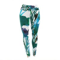 """Ebi Emporium """"Petal For Your Thoughts Teal"""" Turquoise Green Yoga Leggings"""