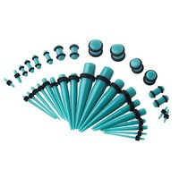 Gauges Kit 36 Pieces Turquoise Acrylic Tapers with Plugs 14G - 00G Stretching Kit - 18 Pairs