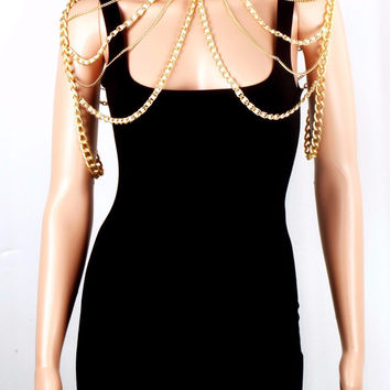 Gold Beach Chain Faux Pearl Shoulder Necklace