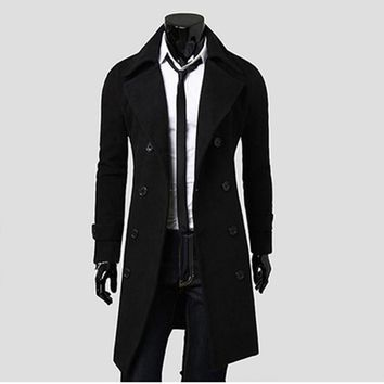 Mens Trench Coat 2017 New Fashion Designer Men Long Coat Autumn Winter Double-breasted Windproof Slim Trench Coat Men HO815086