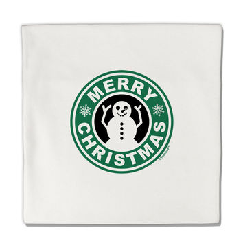 "Merry Christmas Latte Logo Micro Fleece 14""x14"" Pillow Sham"