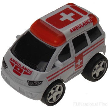 Ambulance White Red 4WD Truck Van Pull Back Car Lot 6 Toy Party Favor Runs Moves