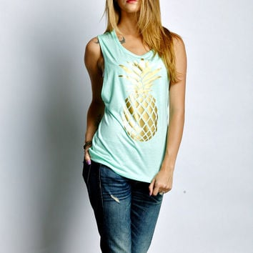 Gold Pineapple Muscle Tank in Mint