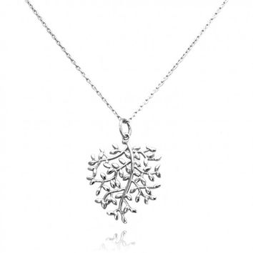 "TIONEER® Medium Olive Branch Medallion Sterling Silver Pendant Necklace with 16""+2"" Extension Sterling Silver Chain"