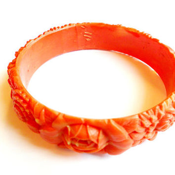 Vintage Floral Bangle - Carved Celluloid Bracelet - Faux Coral - Pink Orange Marbled - Flower Rose Mum - Large Diameter - Plus Size Wrist