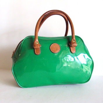 $44.00 Candy Green Rubber n Leather Trim Doctors Satchel by pascalvintage