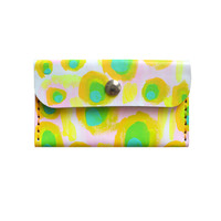 Pastel Leather Wallet, Pattern Coin Purse, Avocado Pattern Wallet | Boo and Boo Factory - Handmade Leather Jewelry