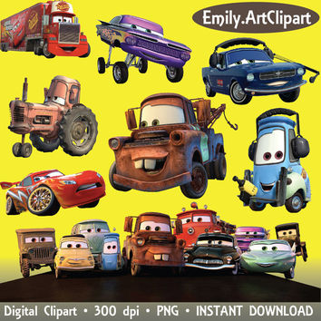 Cars Clipart Disney Cartoon Character 28 PNG Digital Graphic Image Clip Art Scrapbooking Invitations INSTANT DOWNLOAD printable 300 dpi