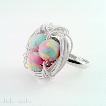 Bird Nest Ring, Polymer Clay Beads in Silver Plated Wire Nest, Adjustable Band
