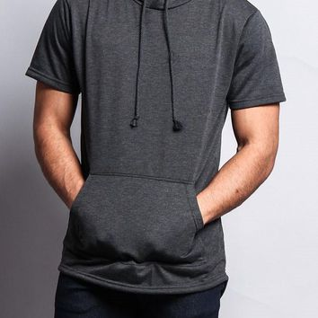 Long Length Short Sleeve Fishtail Pullover Hoodie TS600 - J1F