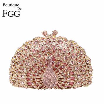 Dazzling Pink Crystal Women Peacock Clutches Handbag Metal Evening Bags Minaudiere Ladies Party Purse Wedding Clutch Bridal Bags