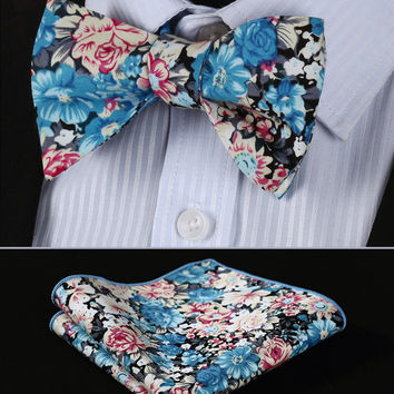 BMF301B Blue Beige Pink Floral 100%Cotton Jacquard Men Self Bow Tie BowTie Pocket Square Handkerchief Hanky Suit Set